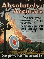 1924 Original Motivational Poster, Absolutely Accurate, Mather Work Incentive