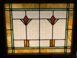 Antique Arts And Crafts Stained Leaded Glass Window 30 X 25 Circa 1915