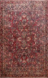 Antique Floral Sarouk Vegetable Dye Hand-knotted Area Rug Red Wool Carpet 9'x12'