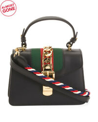 Gucci Sylvie Leather Mini Bag Tote Purse Designer Stripe Black Leather Authentic $2,399.99