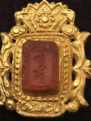 Antique Islamic Kufic Calligraphy 22ct 24ct Gold Carnelian Agate Brooch Pendant