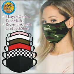 Face Mask 3 Pack Cotton Washable Reusable Filtered Mens Womens Kids Fashionable $6.45