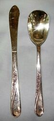 Wm Rogers And Son Spring Flower Silverplate Butter Knife And Sugar Spoon Is Flatware