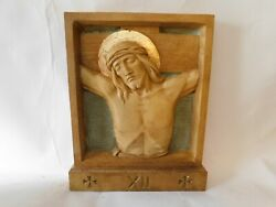 Set Of Church Size Stations Of The Cross In A Dark Antique And Gold Finish