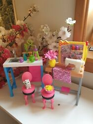 Barbie Careers Chemistry And Sewing Tables + Furniture Extras Lot Pet Dog Mattel