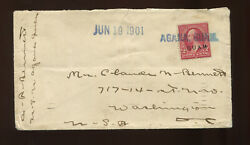 Guam Scott 2 Used Stamp On Cover Agana Guam Jun 19 1901 Blue Cancel To Usa