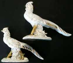 Vintage Mid Century Pair Of Ceramic White And Gold Pheasants 12 Long 1 Repaired