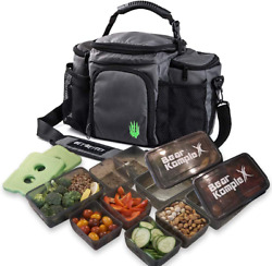 Bear Komplex Insulated Meal Prep Management Lunch Bag, 6 Compartment Lunch Box C