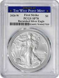 2020-w American Silver Eagle Burnished Sp70 Fs Pcgs Struck At West Point Label