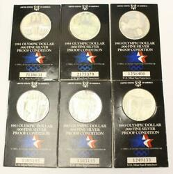 6x Usa Proof Olympic Silver Dollars 4x1983 And 2x1984 .900 Fine Silver 6-coins