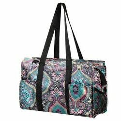 Wireframe Utility All Purpose Tote Bag for Shopping Travel Laundry Blue Paisley $13.59
