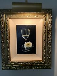 E. Denis Pair Of Single Wine Glass With Flowers Paintings