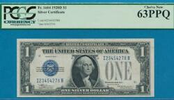 1.00 1928-d Scarce Funny Back Blue Seal Silver Certificate Pcgs Ch. New 63ppq
