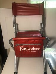 Vintage Budweiser King Of Beers Beach Chair With Cooler -budweiser Advertisement