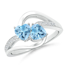 Silver 925 Blue Topaz And Zircon Ring In Us 7 Size With Rhodium Plating For Her