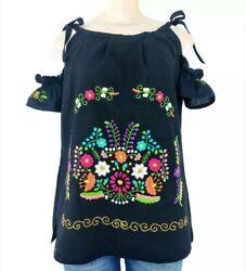 Mexican Handmade Cold Shoulder Women#x27;s Blouse Embroidered Peasant Top S to XL $31.99