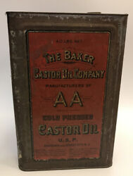 Vtg Large Rare 40 Lbs Net Aa The Baker Castor Oil Co Tin Container Can Tp