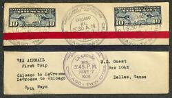 Usa C10 X2 Stamps Chicago Illinois Lacrosse Wisconsin First Flight Cover 1926
