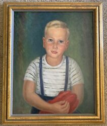 Blue-eyed Boy Original Oil On Canvas Signed By Nan Rice