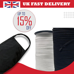 Soft Knitted Elastic Cord Band Sewing Black White Flat 5mm 6mm 7mm Face Mask Uk