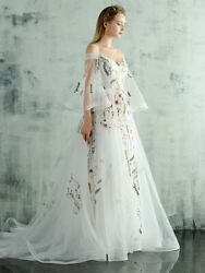 Evening White Boat Neck Flare Sleeves Party Dress Elegant Appliques Luxury Train $156.00
