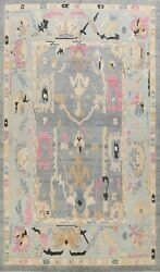 Geometric Floral Authentic Oushak Turkish Area Rug Vegetable Dye Hand-made 10x13