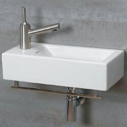 Whitehaus Isabella Wall Mount Basin With Chrome Towel Bar And Center Drain New