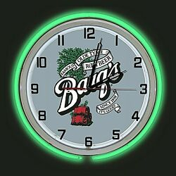 19 Barqand039s Root Beer Sign Double Green Neon Clock Man Cave Bar Garage Gift Barqs