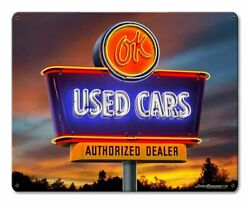 Pasttime Signs Ok Used Cars Neon At Sunset Steel Garage Sign 15 X 12 Lgb687