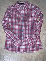 ROAR Western Shirt Pink Plaid Rhinestones Women's Large L Long Sleeve NWOT $19.99