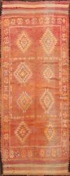 Antique Geometric Traditional Moroccan Runner Rug Hand-knotted Wool 5x12 Carpet