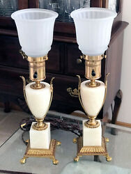 Rare Antique Pair Of 1920and039s Paw Feet Mslc 3480 Hollywood Regency Torchiere Lamps