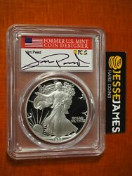 1988 S Proof Silver Eagle Pcgs Pr70 Dcam Jim Peed Hand Signed Flag Label
