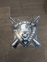 16 Dept Of Zombie Defense 3d Cutout Retro Usa Steel Plate Display Ad Sign
