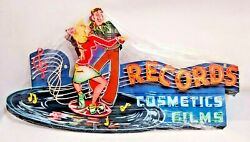 18 1950s Records Cosmetics Films Rock Dance Neon Style In Steel Sign Wall Decor