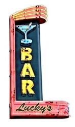 18 Lucky's Martini Bar Live Lounge Music Bar Neon Style In Steel Usa Metal Sign