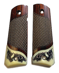 1911 Fits Colt And Clones Grips Rosewood Scrim Scroll On Ivory Accent
