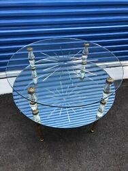 Bi-level Cocktail Table Attributed To Arturo Pani Mirrors Brass Glass Legs