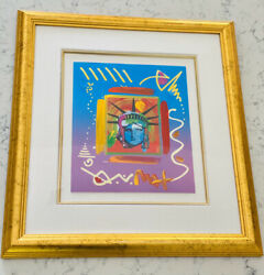Peter Max Liberty Head Ii Mixed Media And Acrylic Stunning And Signed By Artist