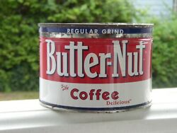 Vintage 1940 Butter-nut Coffee Cup Tin Can Advertising Decor Old Price Lid