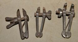 3 Antique Rare Jeweler Hand Pin Vise Collectible Blacksmith Forged Tool Lot