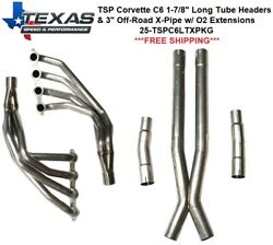 Texas Speed Corvette C6 1-7/8 Stainless Steel Long Tube Headers And O/r X-pipe