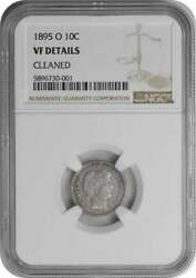 1895-o Barber Silver Dime Genuine Cleaned - Vf Details Ngc
