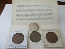 1872 Bronze Half Pence Half Penny Great Britain Plus 1963 Penny1964 And 1957