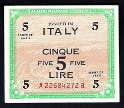 Italy 1943 A 5 Lire Banknote--------------176