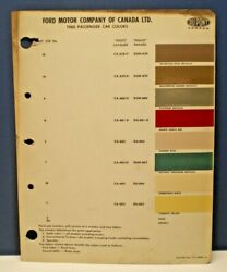 1961 FORD CANADA PASSENGER CAR COLORS DUPONT CANADA PAINT CHIP SAMPLES CHART