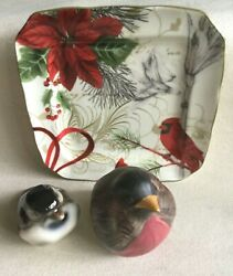 Lot 3 Retro And Vintage Bird Items - 2 Figurines And 1 222 Fifth Cardinal Plate Nice