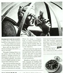 1943 Wwii Ad Hamilton Watch Sextant Navy Patrol Bomber Looks For U-boat