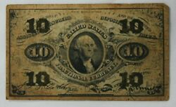 1863 .10 Fractional Currency Note Bank Stamp Act Civil War Rare  1530