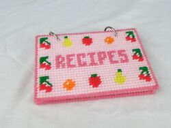 Vtg Needlepoint Plastic Point Recipe Book Cover W/ Index Cards Fruit Kitschy